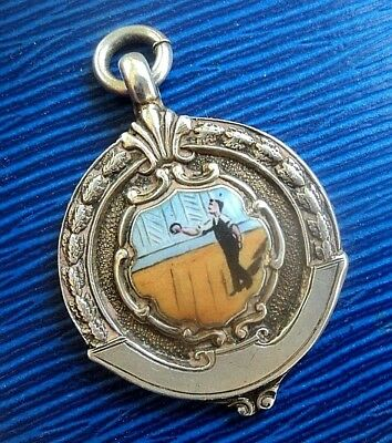 Attractive Silver & Enamel Medal / Watch Fob / Pendant - Quoits h/m 1926 Chester