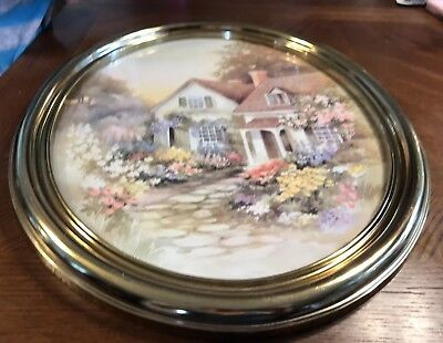 Vintage Home Interiors Homco Gold Frame Large Oval Wall Picture Country Cottage
