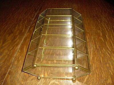 Vintage Glass & Brass Curio Display Cabinet Case  Footed Base Hinged Door