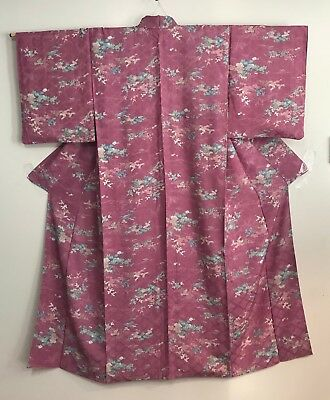 Vintage Pink Color Kimono  Decorated with Chrysanthemums & Pine Trees #312