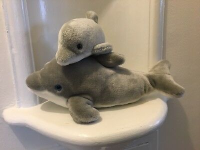 vintage 1989 Sea World mother & baby bottle nose dolphin plush Toy Pair