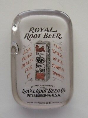ROYAL ROOT BEER Co. Pittsburgh PA Glass Advertising Paperweight Abrams