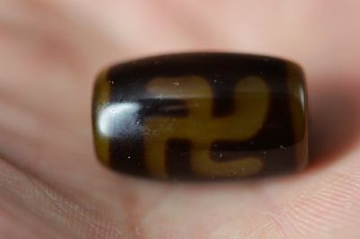 Treasure Tibetan old Agate Dzi *卍 Swastika* Bead pendant  G82