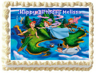 PETER PAN AND CAPTAIN HOOK HAPPY BIRTHDAY 7.5 INCH PRECUT EDIBLE CAKE TOPPER