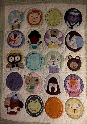 Land of Nod Baby Crib Toddler Dog Puppy Cat Bear Mouse Owl Animals Quilt Cotton