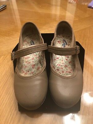 Capezio Girls Tele Tone Tap Shoes Tan Toddler Childrens Size 12M Used