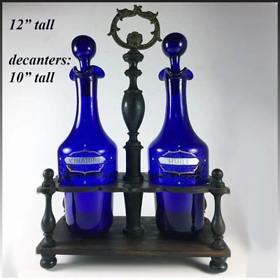 Antique French Enameled Cobalt Blue Glass Oil, Vinegar, in Original Wood Stand