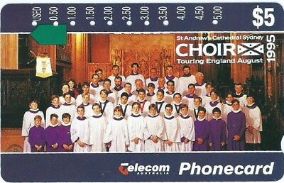 $5 St ANDREW'S CHOIR MULTI HOLE SUPERIOR CONDITION TELSTRA PHONECARD