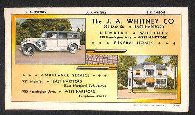 "East Hartford CT J. A. Whitney Funeral Homes Ambulance 3.5 x 6.25"" Color Blotter"