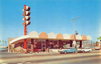 Oxnard CA Mel's Drive-In Coffee Shop & Restaurant Old Cars Postcard