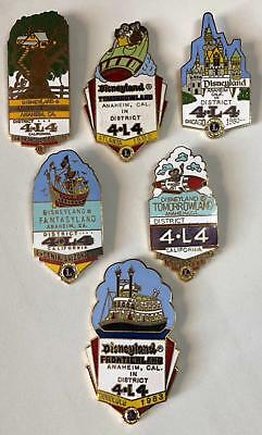 Disney Disneyland Theme Land pins 6 different   Lions Club Pin