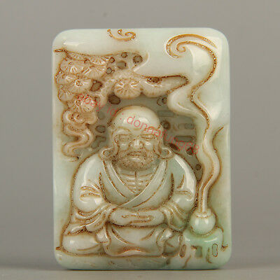 Chinese Exquisite Hand-carved Luohan Carving jadeite jade Pendant