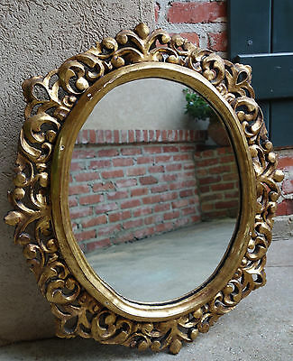 Antique FRENCH Carved Wood Gold Gilt Frame Wall Mirror Gesso Louis XV ROUND