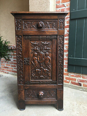 Tall Antique Spanish Carved Oak Renaissance Gothic Cabinet Lion Soldier  .b