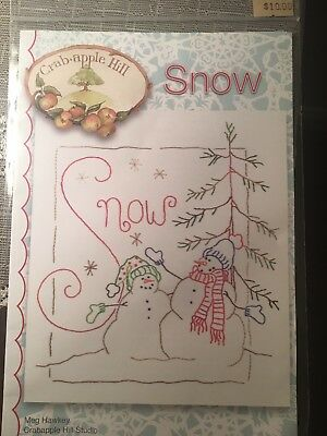 Crab Apple Hill Studio Snowman Hand Embroidery Pattern Plus Cosmo Floss NIP