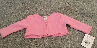 carters size 6mo girls cardigan sweater PINK, Valentines Day, Easter, NEW