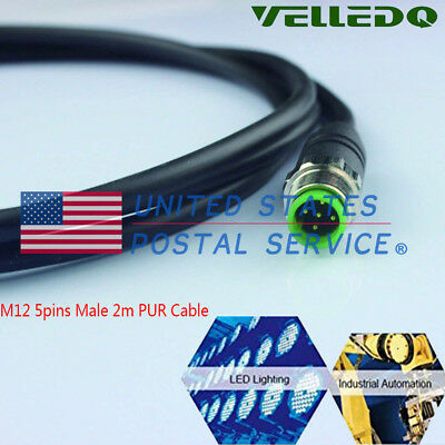 Customized M12 5 Pin Male Waterproof Oil-proof Connector PUR Copper Cable 2m US