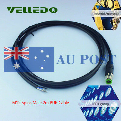 Industry Field M12 Male Straight 5 Pins Connector Single Ended Outlet PUR Cable