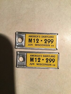 Pair of DAV 1968 Wisconsin  License Plate Keychain Tags