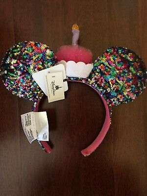 Disney World Confetti Rainbow Sequin Minnie Mouse Birthday Candle Ears Headband