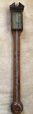 Stunning Antique G.pistalla Mahogany And Burl Wood Stick Barometer