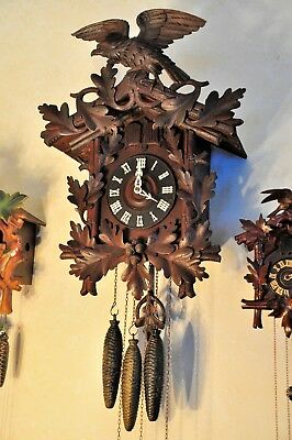 Antique Cuckoo Clock; Eagle on Crown; Great Working Order; (See Video)