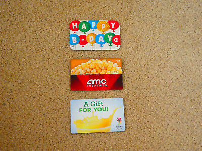 Lot of 3 - $0 Value Collectible Gift Cards (AMC, Jamba Juice, Target)