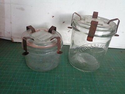 Vintage FOWLERS VACOLA #15  and #30 with lids and clips, embossed design