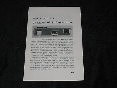 Vintage YASHICA 16 Subminiature Special Section  Article