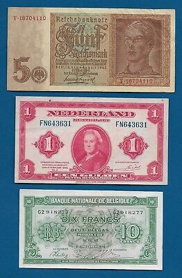 WW2 Nazi Germany 5 RM 1942, Netherlands Gulden 1943 P-64 , Belgium 10 Fr P-122