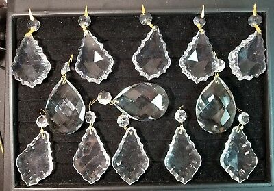 Lot of 13 Vintage Chandelier Prism Large Crystal Drops.