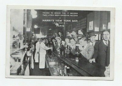 Harry's New York Bar Paris Beer Drinking Record Photo Postcard OLD