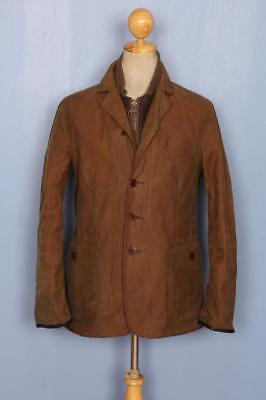 BARBOUR Quilted Blazer Waxed Jacket Brown Size Medium