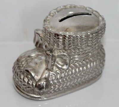 """Silver Plated """"Bootee"""" Money Box - NEW"""