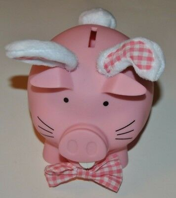 Old Navy 2015 Pink Piggy Pig Bunny Bank with Plaid Bow Tie