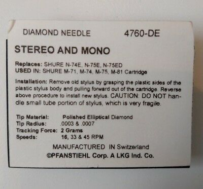 NOS Pfanstiehl 4760-DE Diamond Stylus Needle replaces Shure N-74E N-75E N-75ED