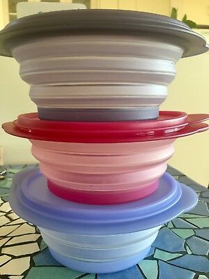 Tupperware Expanding Bowls Set 3 Great used condition Kitchenalia or collector