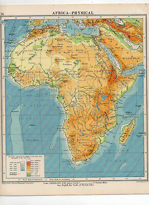 C1930 Antique Map Of Africa Physical George Philip & Sons