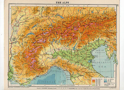 C1930 Antique Map Of The Alps George Philip & Sons