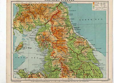 C1930 Antique Map Of Northern England George Philip & Sons