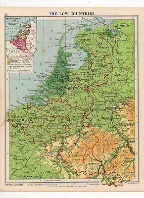 C1930 Antique Map Of The Low Countries George Philip & Sons