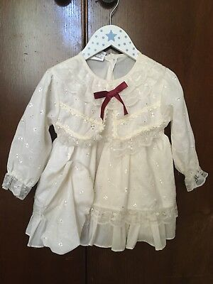 BABY GIRL VINTAGE DRESS 12/24 MONTHS Romany 80's Cream Summer Wedding anglaise