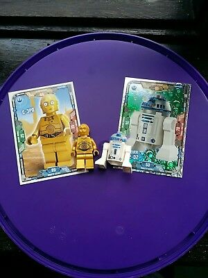 Lego Star Wars minifigure C3P0 and R2D2 with Lego Trading Cards