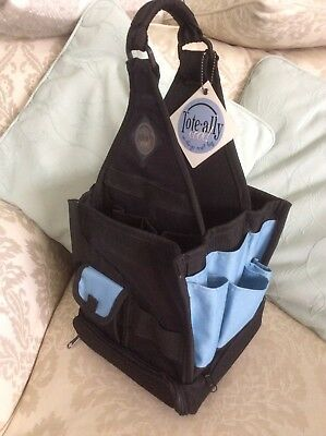 Totally Cool Craft Tote Bag Black/Blue Hobby Organiser Canvas