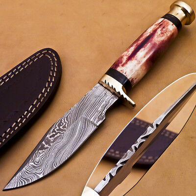 Custom Hand Forged Damascus Steel Hunting Knife - Stained Camelbone-  H-1423