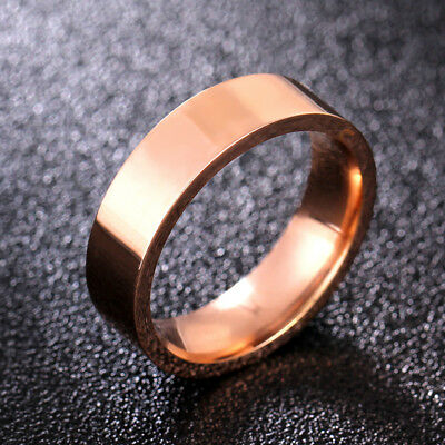 6mm Rose Gold 316L Stainless Steel Band Men Women Titanium Smooth Ring Size 5-11