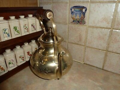 Large Vintage Brass Kettle Tea Pot Swivel Wooden Handle Cottage Farm Decor Old