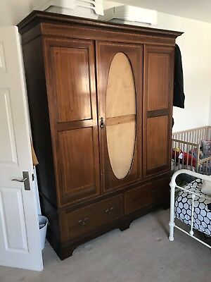 Antique Edwardian Solid Mahogany Wardrobe
