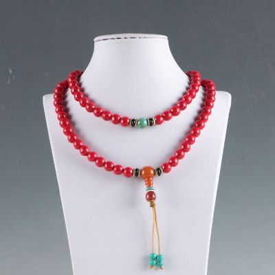 100% Natural Red Coral &beeswax Handwork Decoration Necklaces