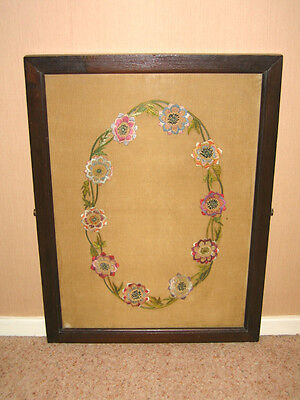Hand Embroidered Flowers - Framed and Glazed